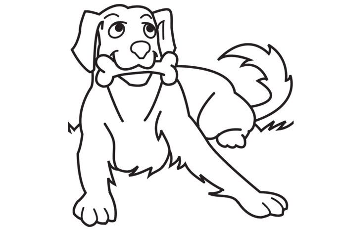 blank drawing of dog for kids