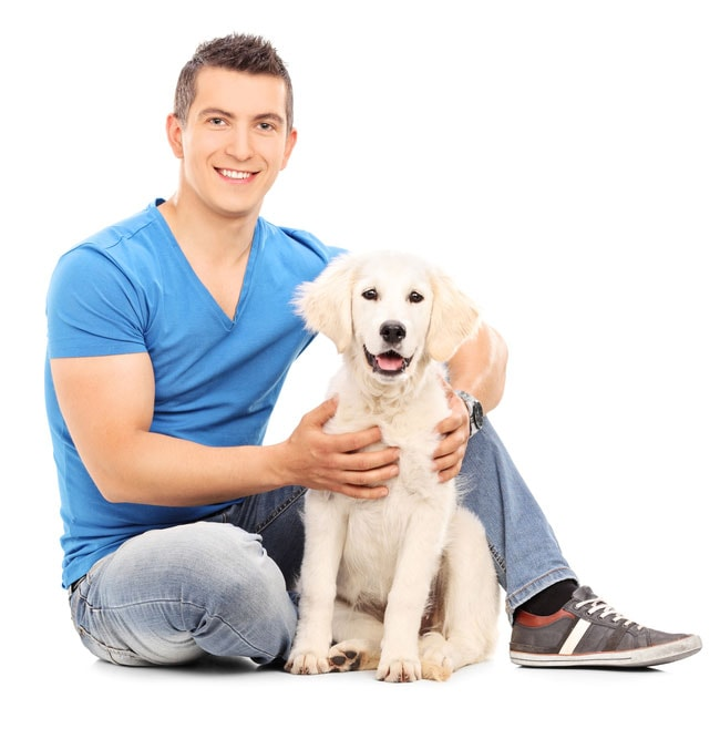 A man wanting veterinary services for a dog